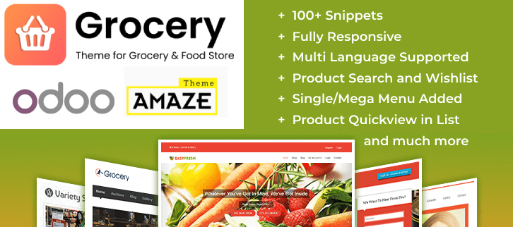Odoo Theme for Grocery Store Odoo Fashion Store Theme Online Food Delivery and Online Food Selling Odoo Theme Hotel Booking & Reservation Marketplace Odoo Theme Odoo Beauty & Cosmetics E-commerce Theme Furniture Store eCommerce Theme