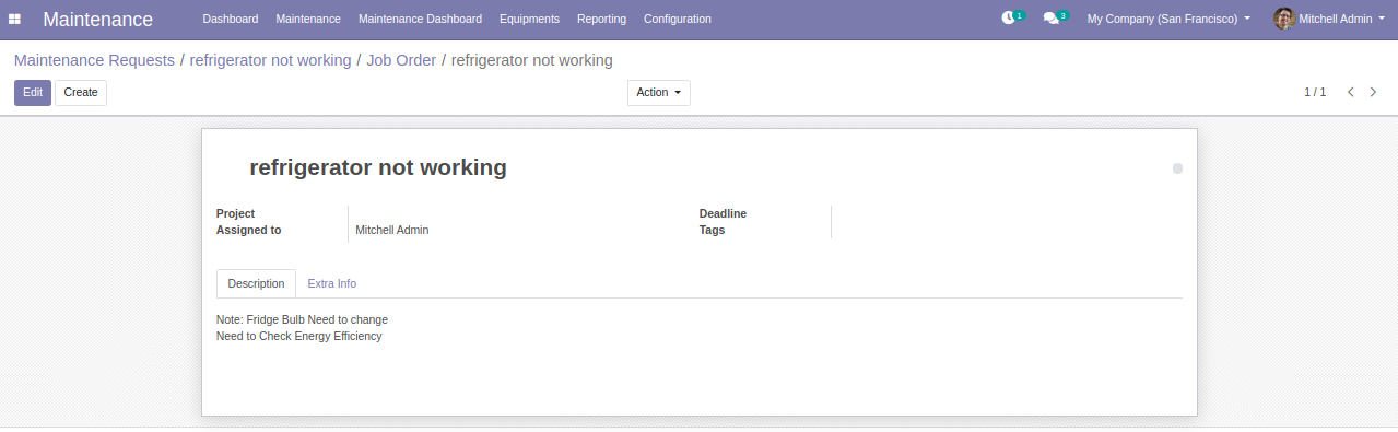 Maintenance Request from odoo module