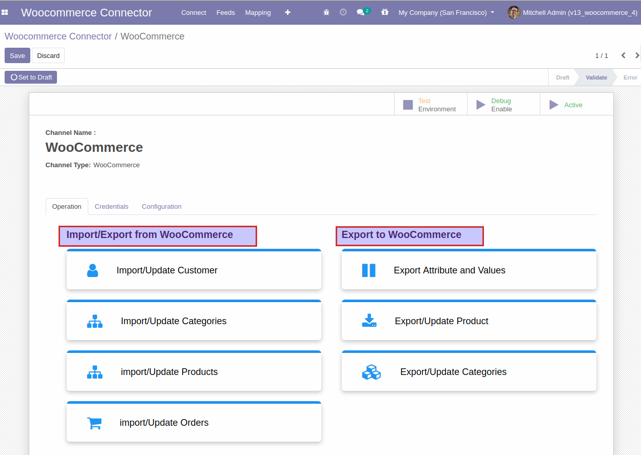 Odoo Woocommerce store connection