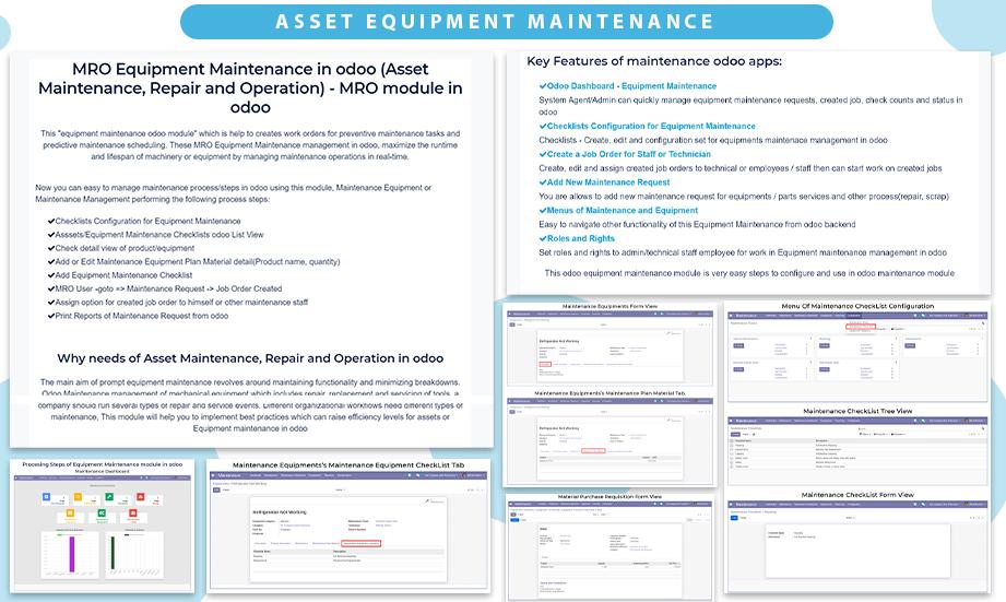 Asset Equipment Maintenance, Machine Repair/Maintenance, Auto parts - All in one Maintenance