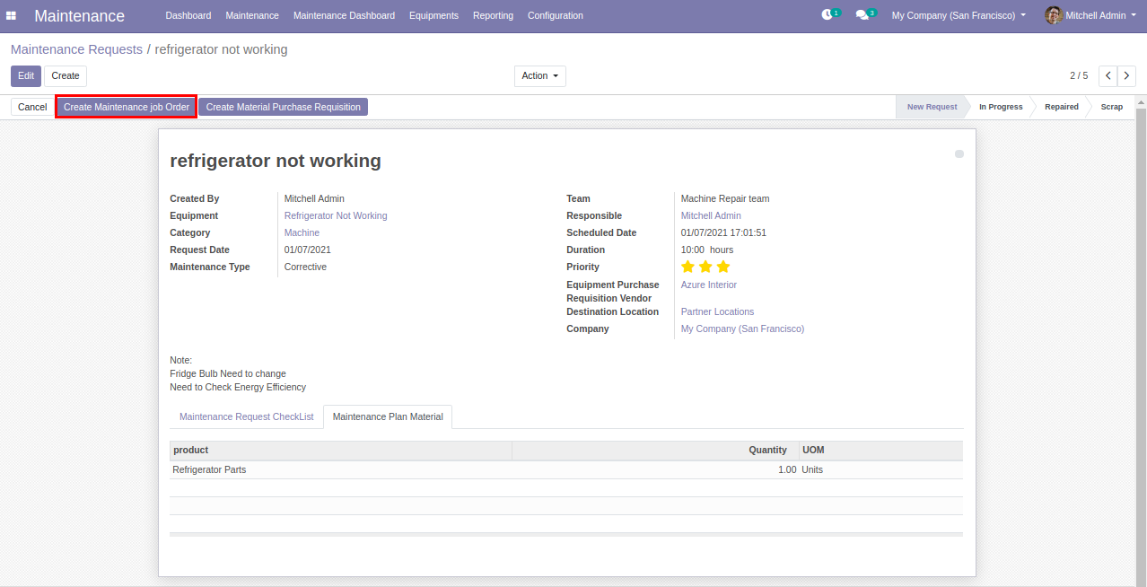 Asset Maintenance, Repair and Operation in odoo