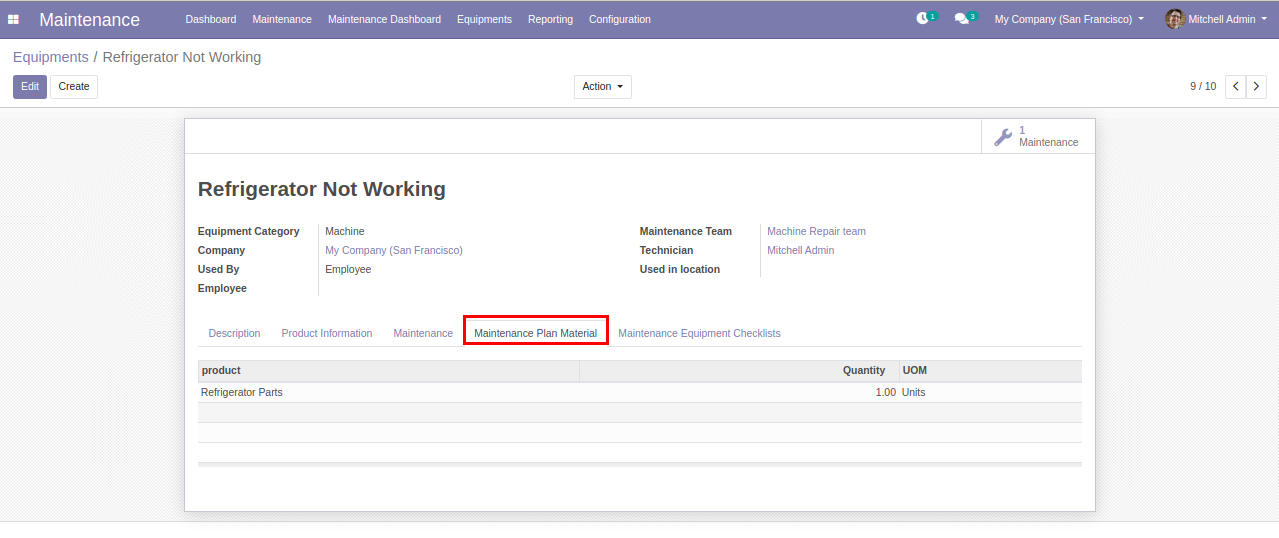 manage maintenance steps in odoo