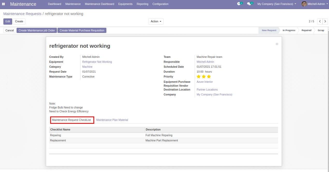 Maintenance Request from odoo